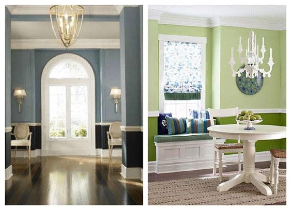 Przykład łączenia bieli z kolorem we wnętrzu tradycyjnym i nowoczesnym