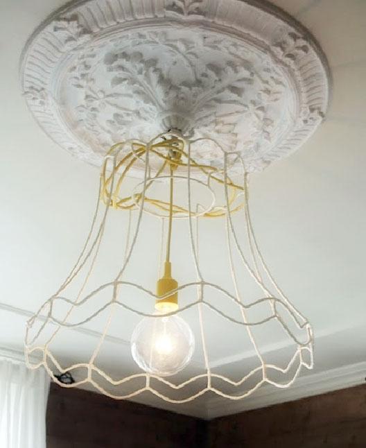 zestawienie lampy z rozetą w przestrzeni kuchennej