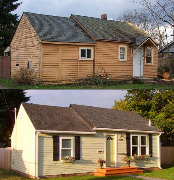 Stary drewniany dom przed i po remoncie