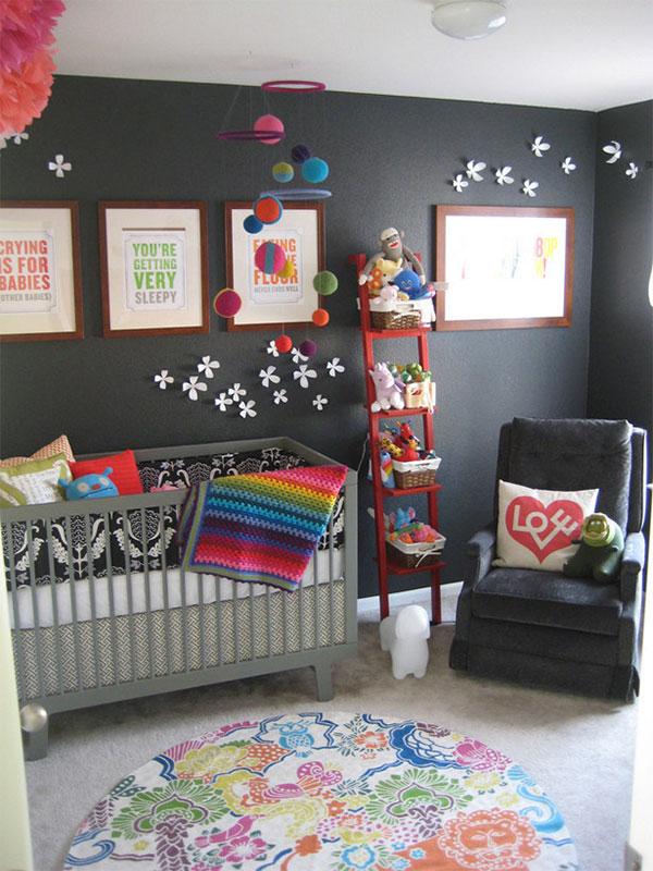 Pokój dziecinny w ciemnych barwach ścian