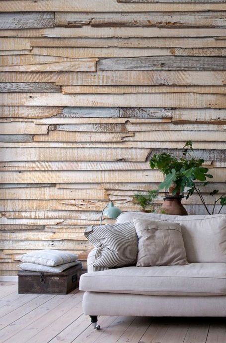 Salon ze ścianami z desek