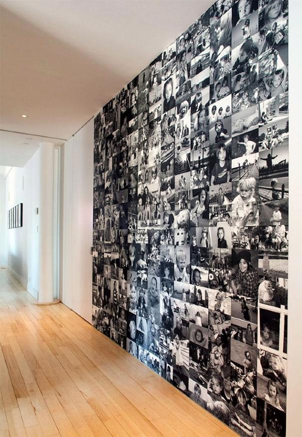 Czarnobiałe zdjęcia na całej ścianie